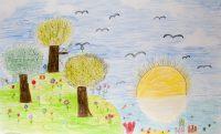 Νεφέλη Ευαγγέλου - Σεβαστού - Δημ. Σχολείο Παμφίλων Λέσβου - Ηλιοβασίλεμα στον ελαιώνα