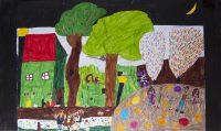 Έλενα Φίντλερ - Μπολέτση - Δημ. Σχολείο Αχαράβης Κέρκυρας - Πανηγύρι στο χωριό τη νύχτα